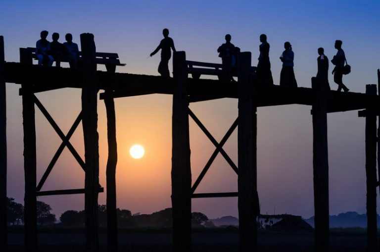 U Bein bridge at sunset in Amarapura near Mandalay, Myanmar (Bur